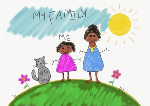"Kid artwork showing a cat, a young girl with her mother. Its titled ""My Family"""