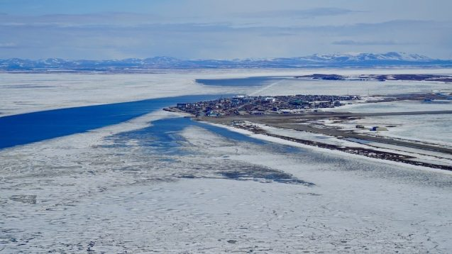 View of Kotzebue Sound in northwestern Alaska from an unoccupied aerial vehicle used by Lamont-Doherty Earth Observatory researchers to track the impact of climate change on the sea ice in that region of Alaska.