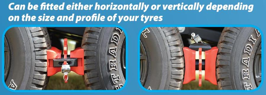 It can be fitted either horizontally or vertically depending on the size and profile of your tyres.