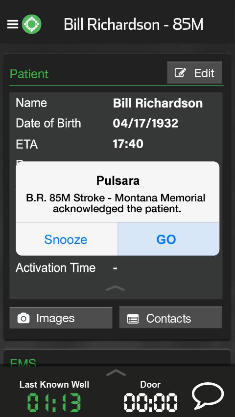 Alert 2 with patient details