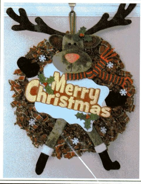 Rudolph wreath pattern designed by Gail Penberthy