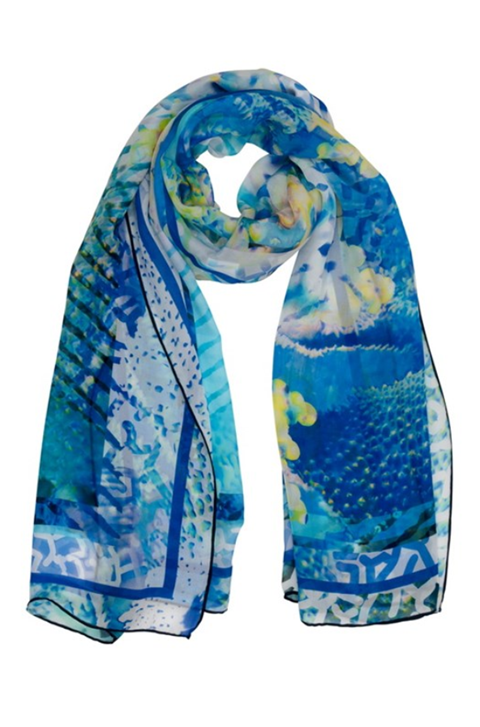 Coral Sea Reflections silk Scarf