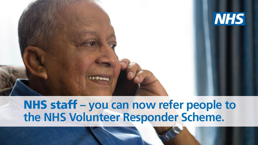 Image of gentleman on the telephone in an armchair. Words: NHS staff - you can now refer people to the NHS Volunteer Responder Scheme