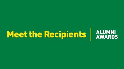 Meet the recipients text on a green background