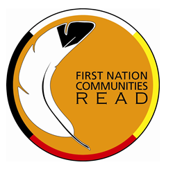 This is the logo of the First Nation Communities Read program. It features a feature and the colours white, yellow, red and black.