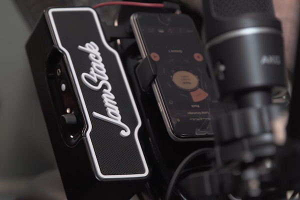 THE NEW ELECTRIC GUITAR AMPLIFIER IS PORTABLE, MOUNTABLE, AND HOLDS YOUR SMARTPHONE