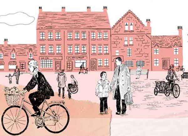 An illustrative scene of a small town square.  Historic buildings in the background with various people in the back and mid ground.  A father with child is walking towards the buildings, a man with a dog is talking to a woman in a wheel chair, an older woman is sitting on a park bench