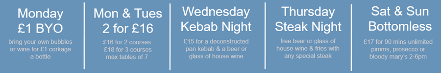 Daily Offers at Megan's. Restaurant food offers Chelsea and Fulham