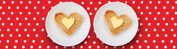Photo of: Toast in heart shape.
