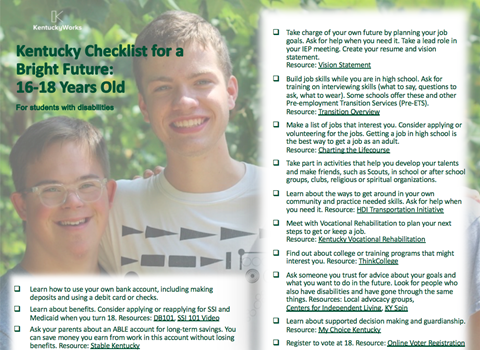Image of checklist for 16-18 year-old students