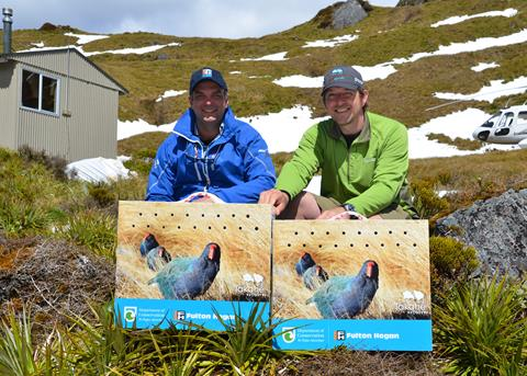 Senior Takahē Ranger Glen Greaves and Michael Fulton releasing takahē at Mackenzie Hut, Te Puhi-a-noa / Murchison Mountains. Photo by A. Clare (Fulton Hogan)