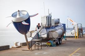 Tidal turbine being deployed