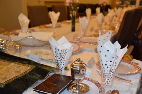 Friday Night Table Set for Shabbaton
