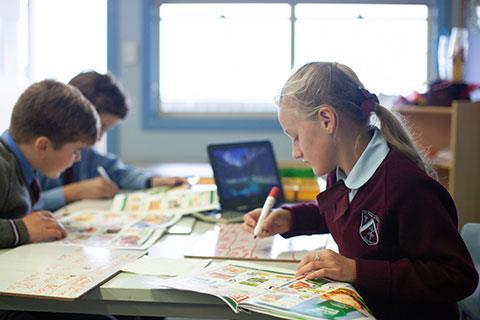 Primary school kids looking at sales brochures