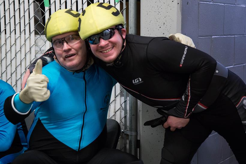 Special Olympics BC speed skaters Karl and Mark