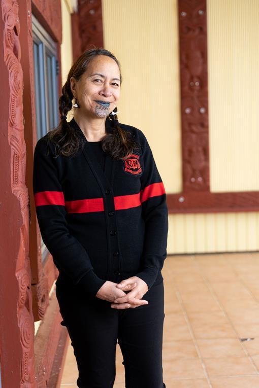 Kararaina Ngatai-Melbourne at Hinerupe Marae in Te Araroa, Te Tairāwhiti. Photo by Josie McClutchie