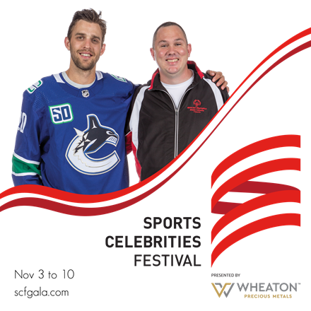 Vancouver Canucks forward Brandon Sutter and Special Olympics athlete Michael Langridge