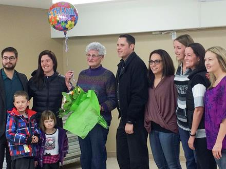 SOBC – Vernon volunteer Marie Morris with members of her family at the Vernon's Good Citizen of the Year presentation