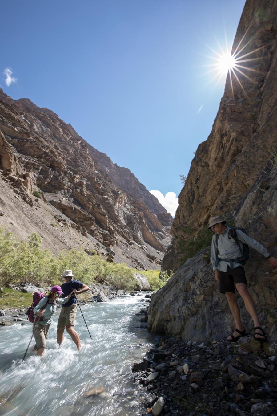 A Zanskar canyon crossing, Mike helping Karen across