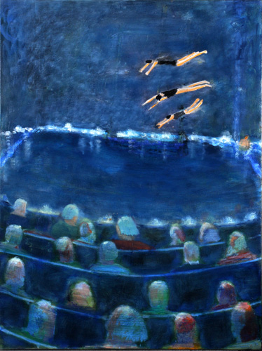 Divers-and-Watchers,-2010,-oil-on-canvas,-48-x-36-inches