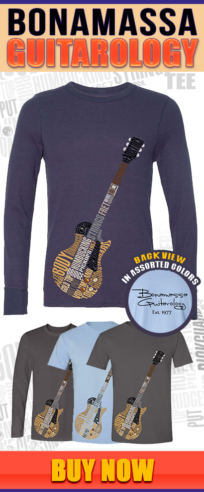 New Guitar's Anatomy Shirt. Based on guitar virtuoso Joe Bonamassa's own Gibson Les Paul Gold Top. Available in short and long sleeve, 4 styles and colors to suit the inner guitar geek in you! Buy Now.