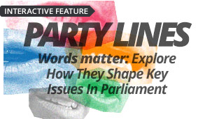 Party Lines - Words matter. Explore how major parties use different words to shape key issues in Parliament