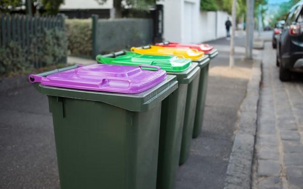 Recycling bins waitin