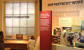 Gates Foundation digital wall and box displays