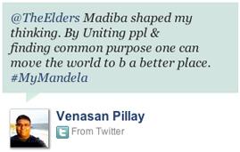 Nelson Mandela tribute tweet