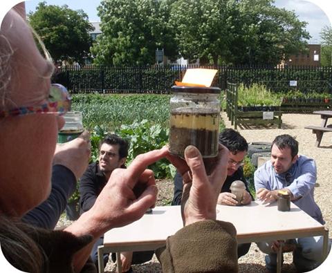 Inspecting soil in a jam jar test