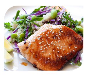 Honey Orange Salmon with Asian Quinoa Salad