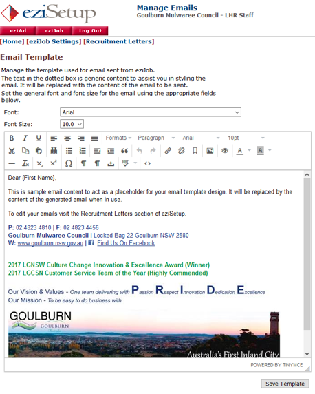 More information on email templates
